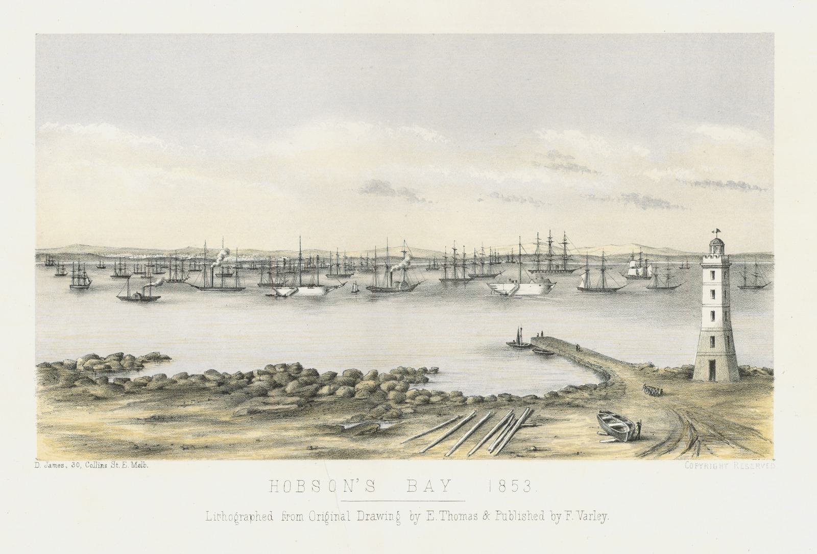 """Hobsons Bay"" Lithograph image courtesy of the Williamstown Historical Society"